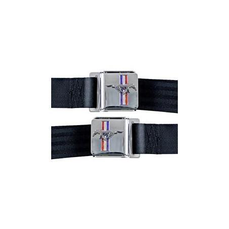 Ceintures de sécurité noire - embleme mustang