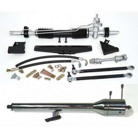 Rack and Pinion STEEROIDS Assisté - Mustang 1970 - Avec colonne de direction CHROME